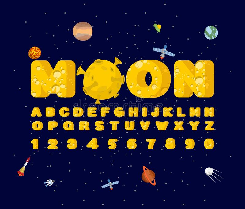 Moon font. Yellow letters of moon texture. Vector alphabet vector illustration