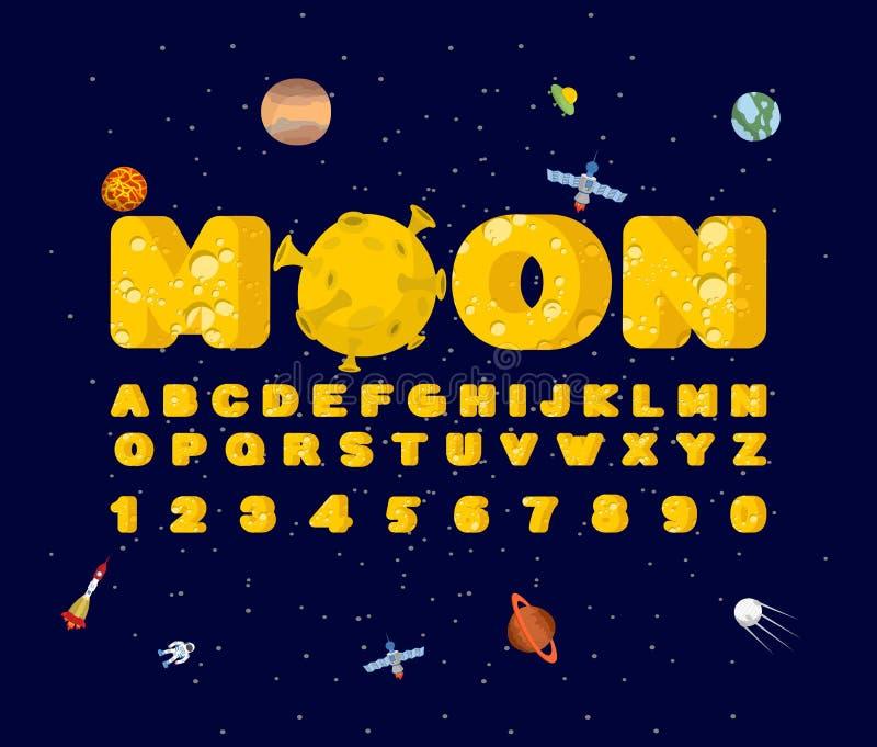 Moon font. Yellow letters of moon texture. Vector alphabet.  vector illustration