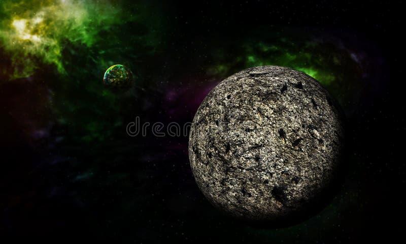 Moon galaxies. Moon galaxies beautiful fantasy background stock illustration