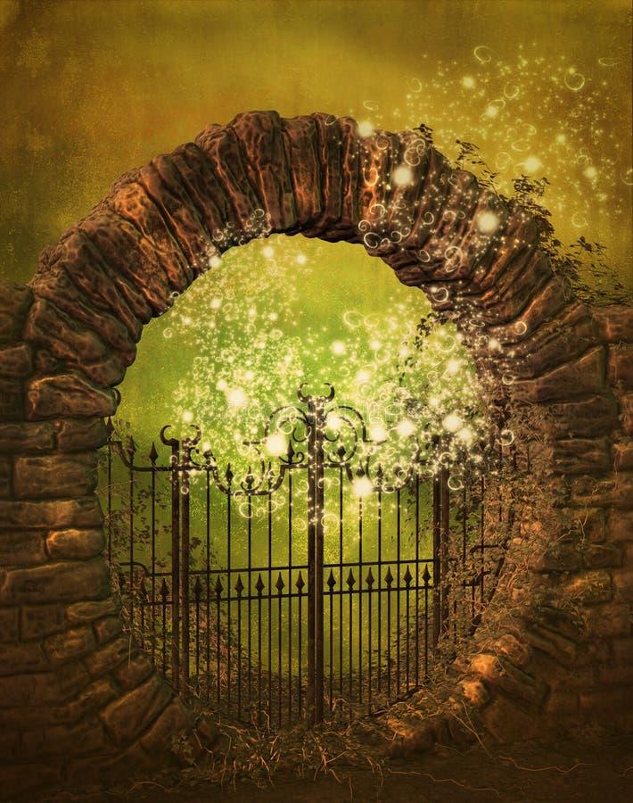 Moon gate fantasy stock illustration