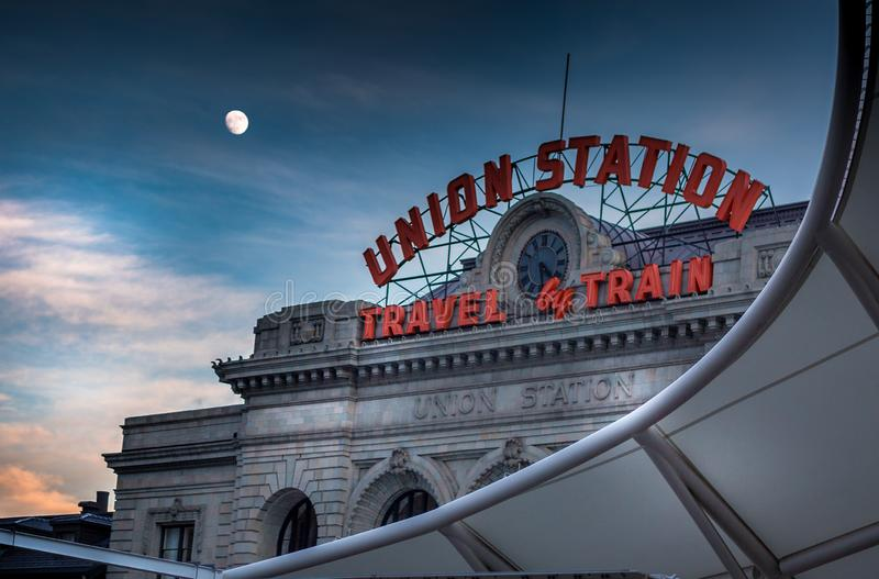 Downtown Denver Union station meets the moon royalty free stock photos