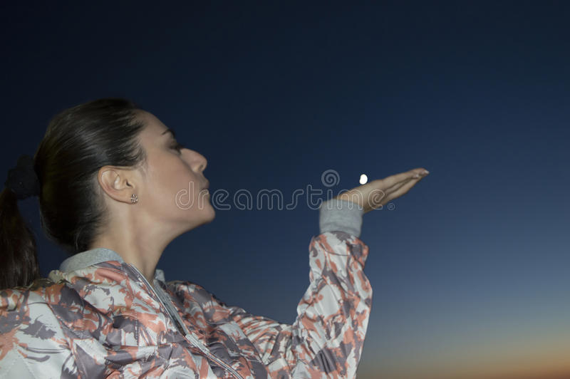 Moon in the hand royalty free stock images