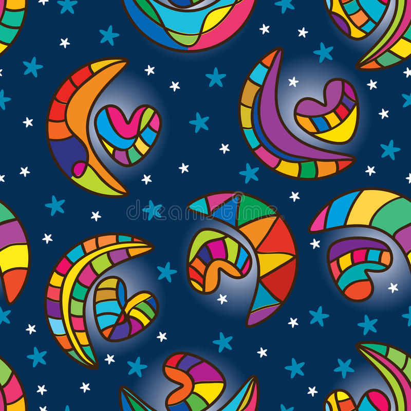 Moon heart seamless pattern. Illustration abstract moon express heart seamless pattern blue background color wallpaper graphic backdrop texture colorful stock illustration