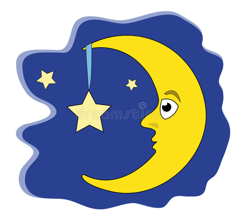 Download Moon holding star stock vector. Image of star, stars - 13934847