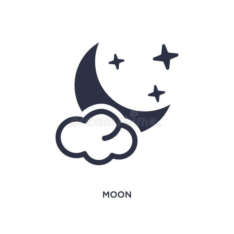 moon icon on white background. Simple element illustration from summer concept stock illustration