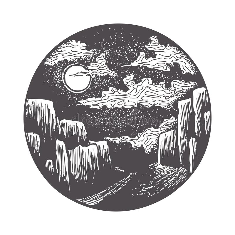 Moon Illuminating the Road to the Gorge. Night Landscape in Classic Ink Technique in Vector Format vector illustration