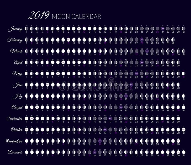 Calendario Lunar 2020.Planner Of Lunar Cycles At 2019 Year Stock Vector