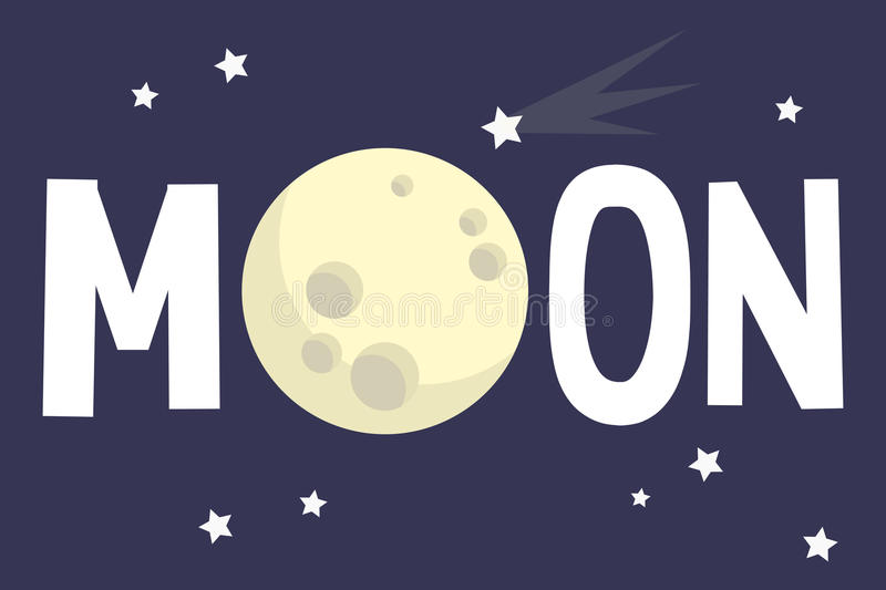 Moon illustrated sign. Full moon conceptual illustration royalty free illustration