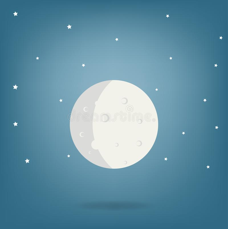Moon illustration - moon cartoon drawing vector.  stock illustration