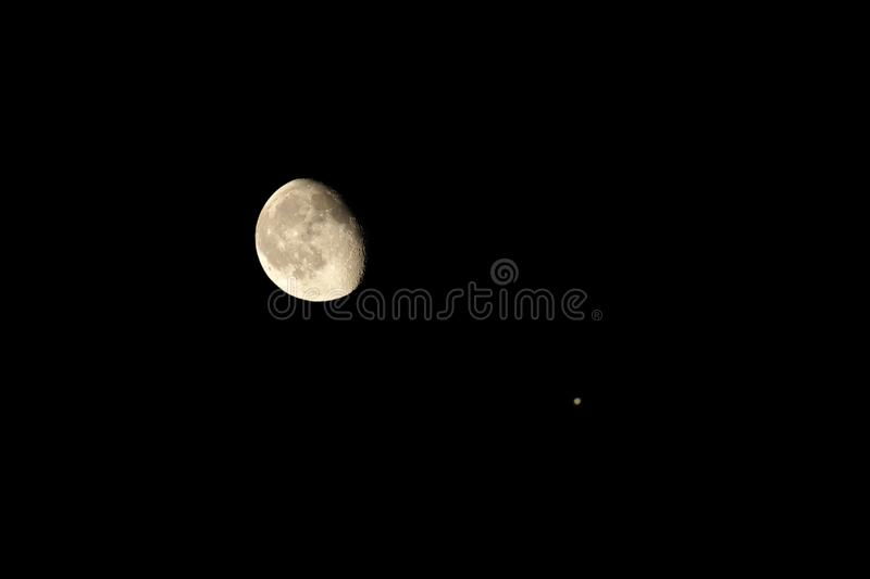 Download Moon and jupiter stock photo. Image of night, astronomy - 21195020