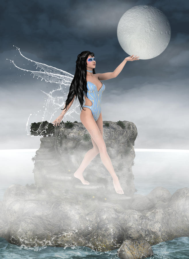 Moon keeper. Beautiful night fairy with water wings holding moon stock illustration