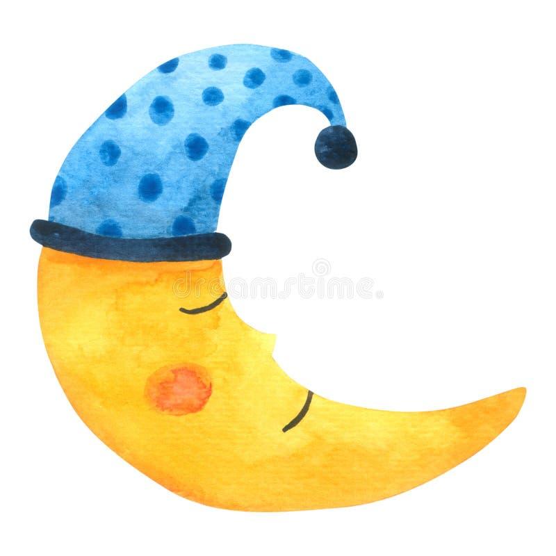 Moon l'acquerello del fumetto su fondo bianco, disegnato a mano per i bambini, la cartolina d'auguri, casi progettano, cartoline, royalty illustrazione gratis