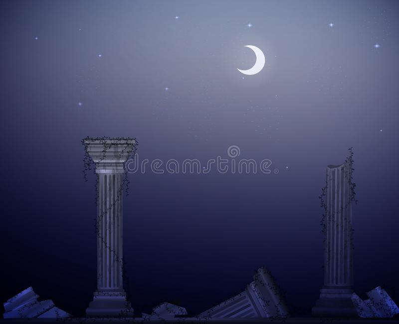 Moon la notte e le rovine delle colonne di marmo con la liana, il declino della civilizzazione, il paesaggio dell'oggetto d'antiq illustrazione di stock