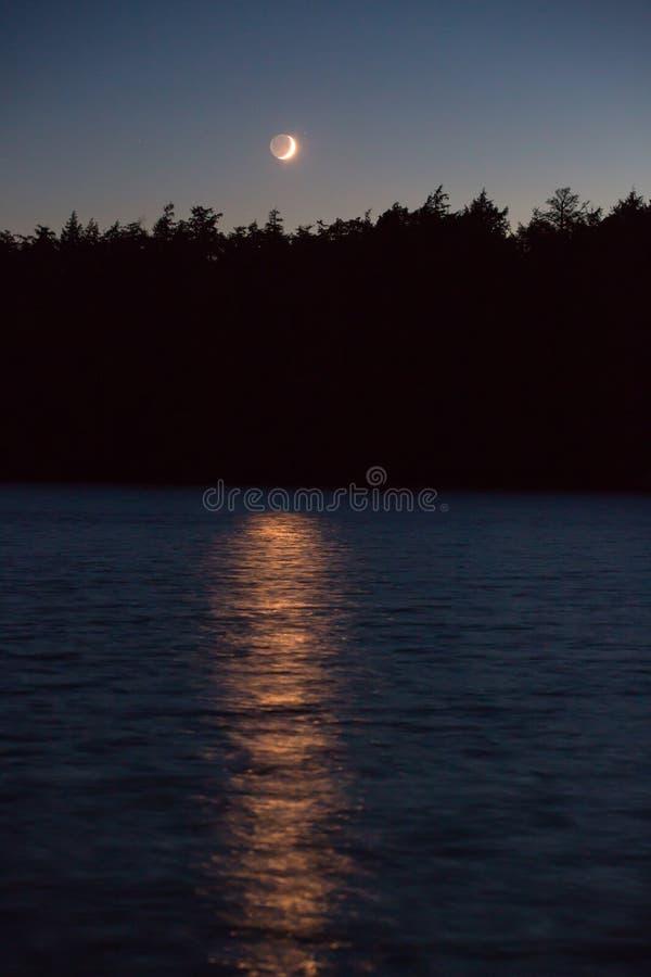 moon lake crescent obraz stock