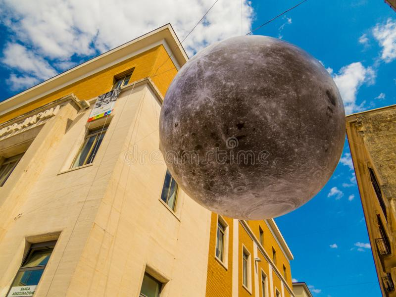 Moon landing celebration in Matera, Italy. MATERA, ITALY - JULY 17, 2019: Celebration for the 50th anniversary of the Man on the Moon 1969 royalty free stock photo