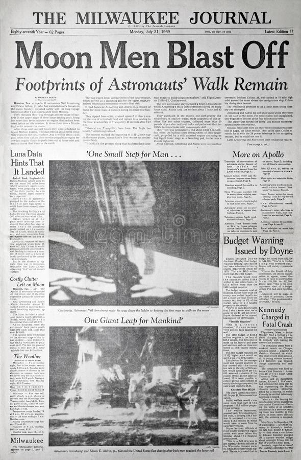 Apollo 11 Moon Landing Newspaper Coverage. The front page of the July 21, 1969, Milwaukee Journal, detailing the first manned landing on the moon by the Apollo stock photos