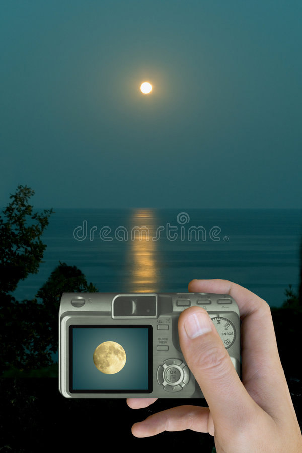 Download Moon on LCD stock photo. Image of lens, mega, hand, electronics - 1598980