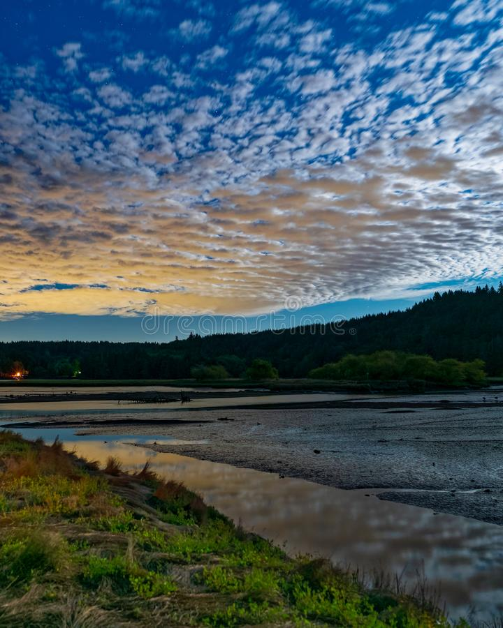 Moon Light Over Oyster Bay. The Day Before Full Moon, Puget Sound royalty free stock images