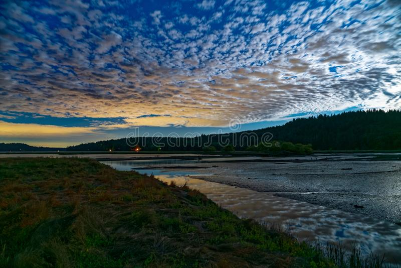 Moon Light Over Oyster Bay. The Day Before Full Moon, Puget Sound royalty free stock image