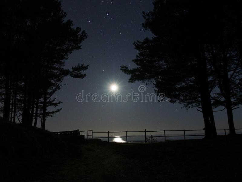 Moon light and gemini constellation stars stock photos