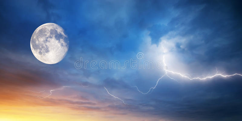 Moon and lightning royalty free stock photography