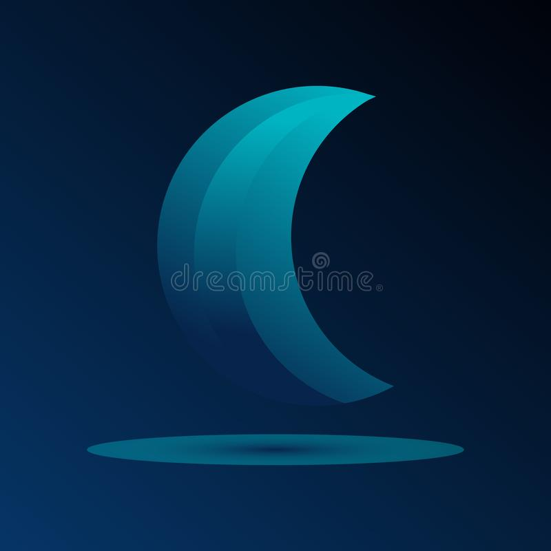 A logo with golden Ratio moon. Moon logo on dark background. Moonglow. fabulous logo with shadow stock illustration