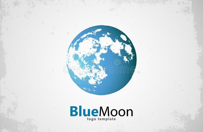 Moon logo design. Creative . Night . Blue . royalty free illustration
