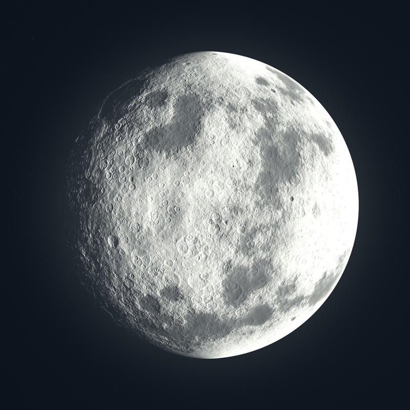 Moon with lunar craters royalty free illustration