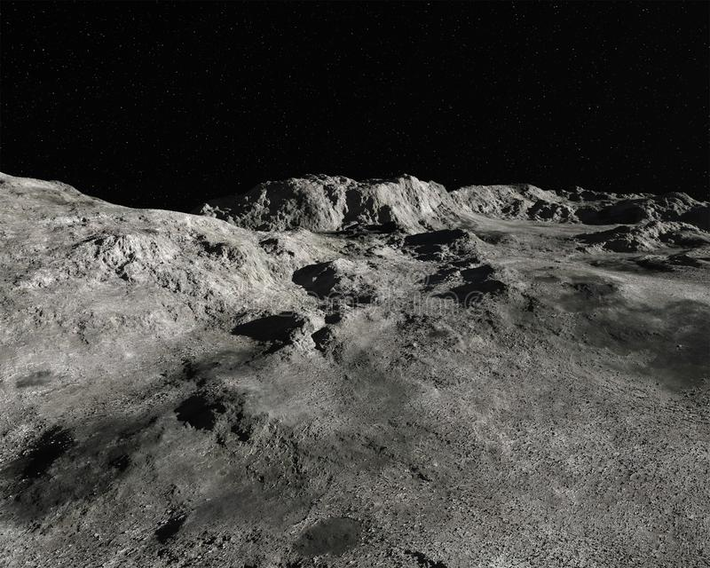 Moon Lunar Landscape Rocky Background. Moon lunar landscape background. The lifeless and barren satellite orbits the earth royalty free stock photos
