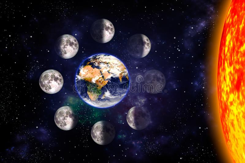 Moon or lunar phases poster. Eight steps of the lunar cycle around the Earth. Space background. 3d render illustration with no royalty free illustration