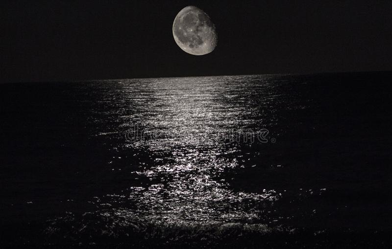 Moon on Mediterranean sea royalty free stock image