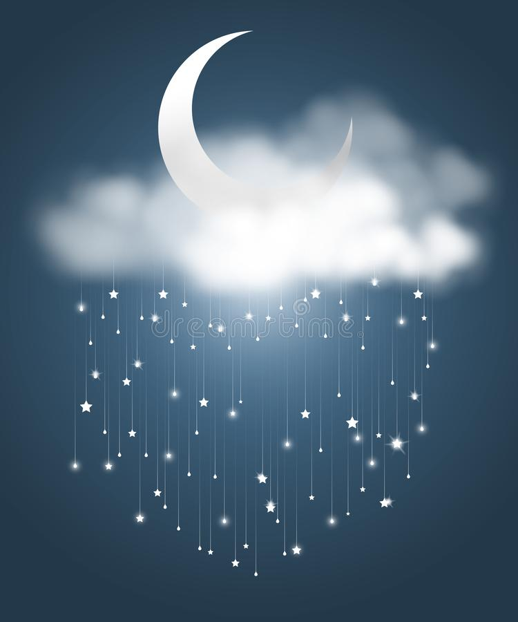 The moon and meteor showers. The crescent moon and clouds with meteor showers look like rainy night. Abstract astronomy background. Vector illustration royalty free illustration
