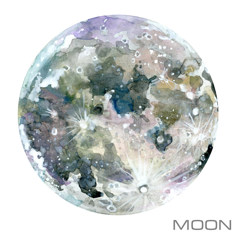 Moon. Moon watercolor background. royalty free illustration