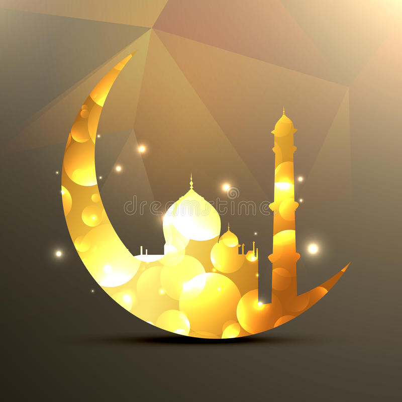 Moon and mosque vector illustration