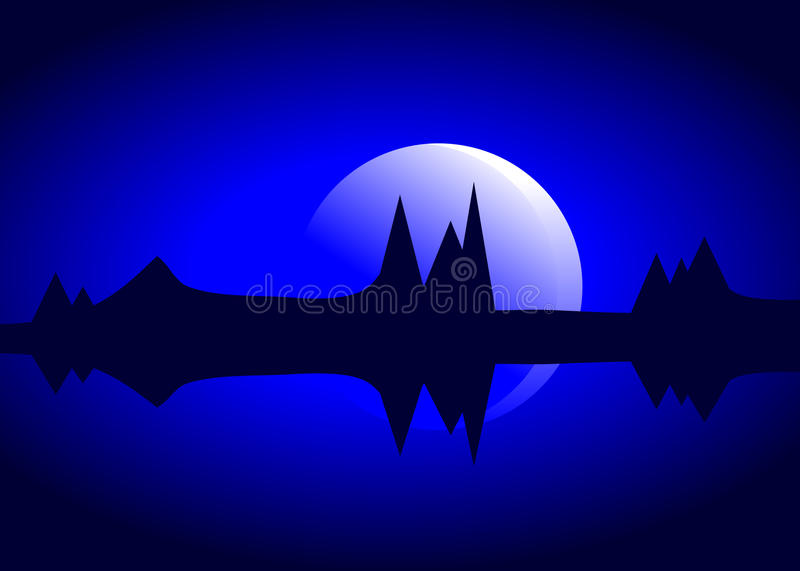 Moon and mountains. stock illustration