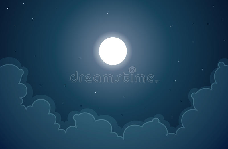 Download Moon of the Night stock vector. Image of quiet, clouds - 25324264
