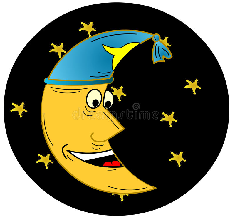 Download Moon with night cap stock illustration. Image of dark - 2910686