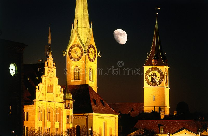 Moon Night City Zurich Royalty Free Stock Photos