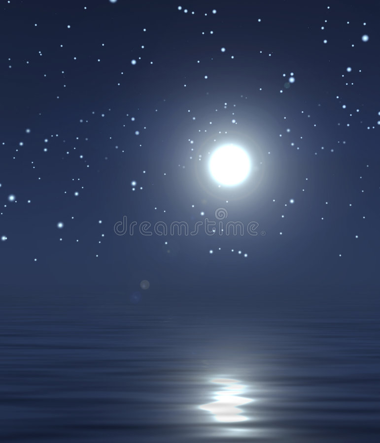 Moon and night sky. A bright moon in a night sky full of stars and a reflection in the water