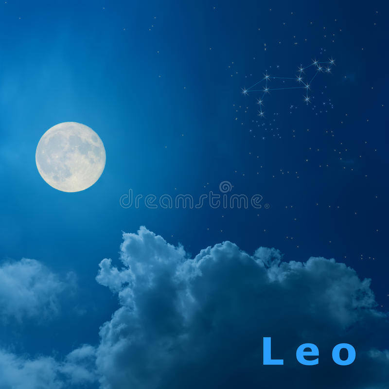 Moon in the night sky with design zodiac constellation Leo. Full moon in the night sky with design zodiac constellation Leo royalty free illustration