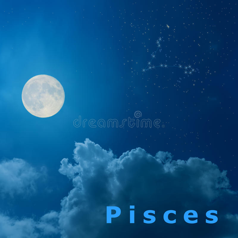 Moon in the night sky with design zodiac constellation Pisc. Full moon in the night sky with design zodiac constellation Pisces stock illustration