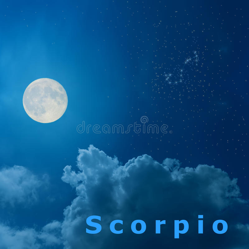 Moon in the night sky with design zodiac constellation Scor. Full moon in the night sky with design zodiac constellation Scorpio stock illustration