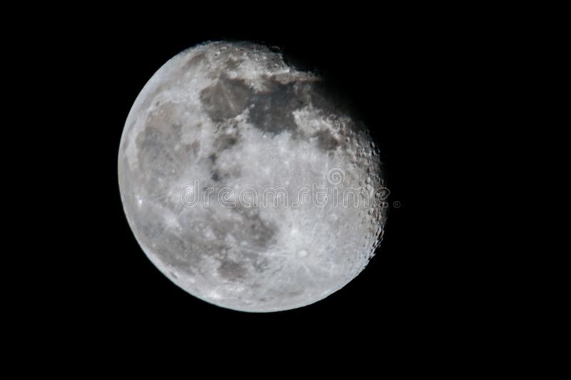 Moon in the night sky. With visible craters close-upn stock images