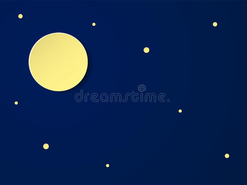 Moon in the night sky with stars. Place for text. Paper cut design for booklets, posters, advertisements. Vector royalty free illustration