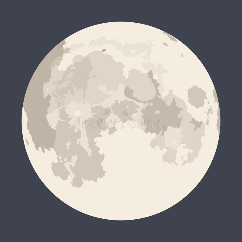 Moon in the night sky. Vector image of full moon in the night sky for backgrounds stock illustration