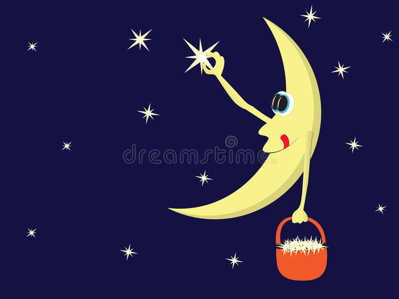 Moon night stars vector illustration