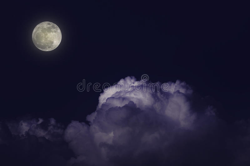Moon night white cloud stock photography