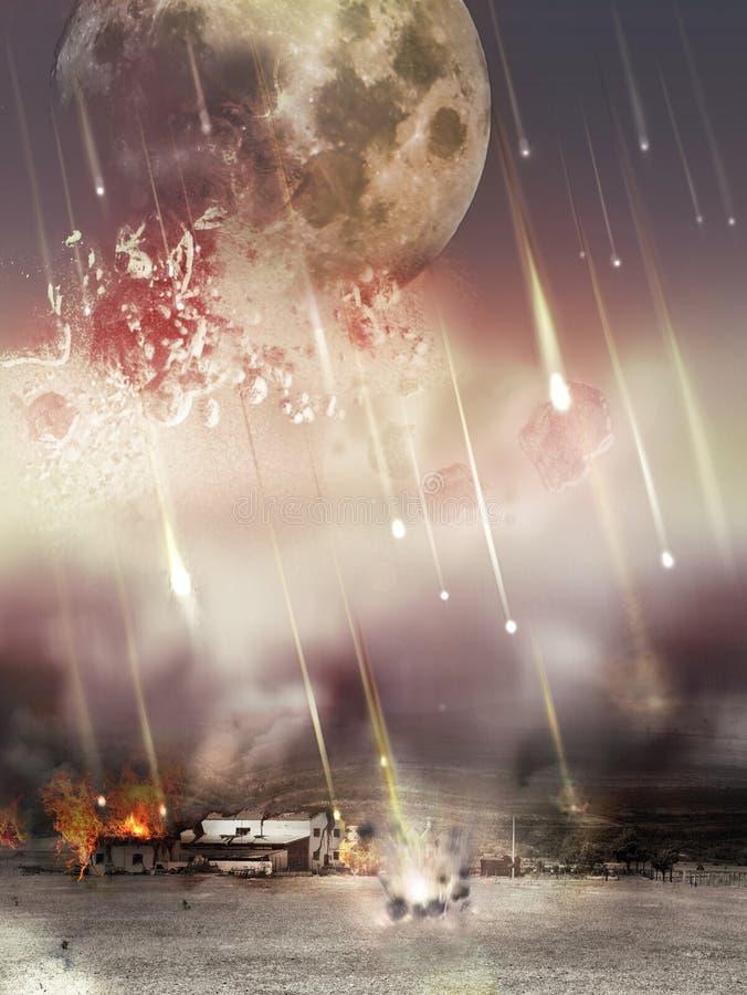 Moon o vermelho girado do sangue, estrelas caiu à terra ilustração stock