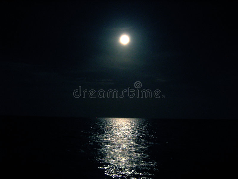 Moon and Ocean night royalty free stock photo