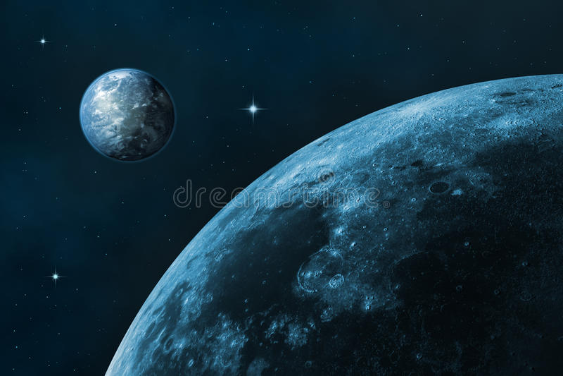 Moon och jord arkivfoto